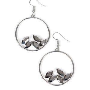 Silver Circle Gemstone Bling Earrings